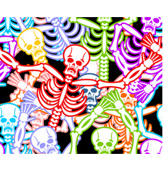 Multicolored skeleton ornament day of the dead vector