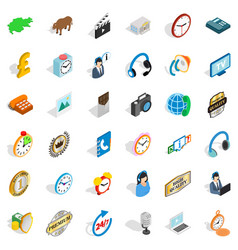 Office clock icons set isometric style vector