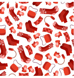 red winter accessorises seamless pattern vector image vector image