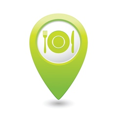 restaurant icon green map pointer vector image vector image