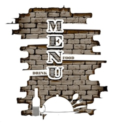 restaurant menu in the of brick wall white vector image vector image