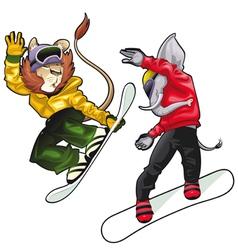 Savannah animals on snowboard vector