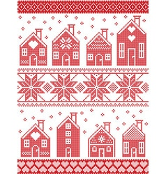 Seamless Xmas pattern with gingerbread house vector image vector image