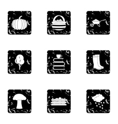 Season of year autumn icons set grunge style vector