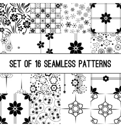 Set of black and white intricate patterns vector image