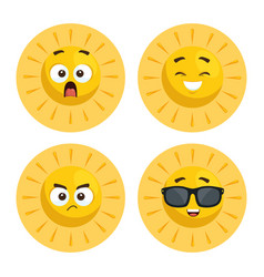 set of summer sun faces cartoon vector image vector image
