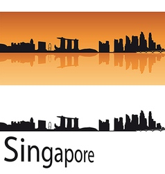Singapore skyline in orange background vector image
