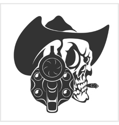 Skull in cowboy hat and gun vector