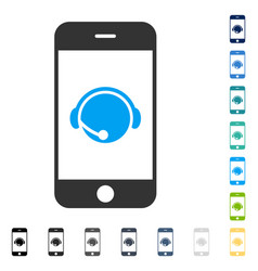 Smartphone operator contact head icon vector