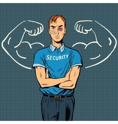 Thin beaten the security guard dreams of power vector