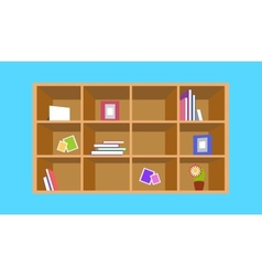 Wooden bookshelf with things vector image vector image