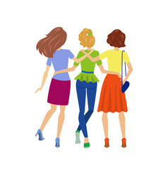 Young girls hugging back view isolated vector