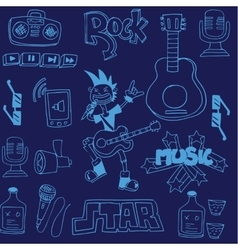 Doodle of music on blue backgrounds vector