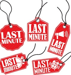 Last minute red tag set vector