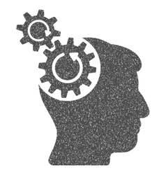 Head cogs rotation grainy texture icon vector