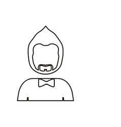 Monochrome contour with half body man with beard vector