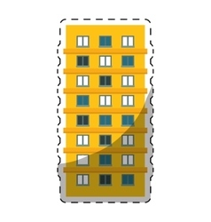 Colorful apartment building line sticker vector