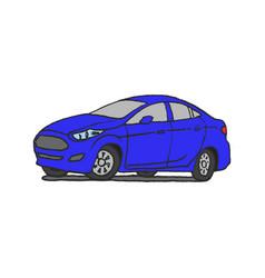 blue car doodle vector image