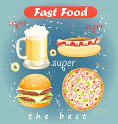 Set of food and drink fast food vector
