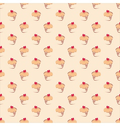 Seamless pattern background with sweet cupcakes vector