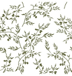 Seamless olive branch pattern hand drawn vector