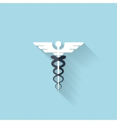 Flat web internet iconCaduceus medical symbol vector image