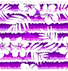 Purple bright flowers and painted stripes seamless vector