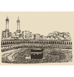 Holy kaaba mecca saudi arabia muslim people sketch vector
