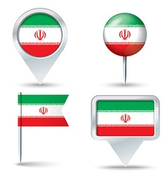 Map pins with flag of iran vector