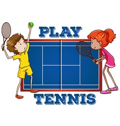 Play tennis with text vector