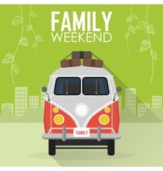Family vacation car with luggage vector