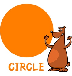 Circle shape with cartoon bear vector