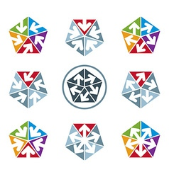 Abstract unusual symbols set creative stylish icon vector image