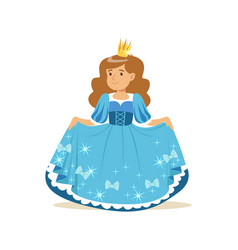 Beautifull little girl princess in a blue ball vector