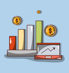 Business statistics with arrow up and coins vector
