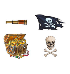 cartoon pirates symbols set isolated vector image vector image