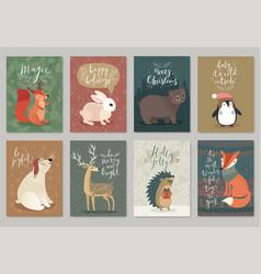 Christmas animals card set hand drawn style vector