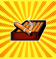cigar box pop art vector image vector image