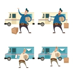 Delivery servis with boxes and cars vector image vector image