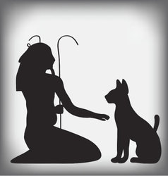 Egyptian cat and god nun vector