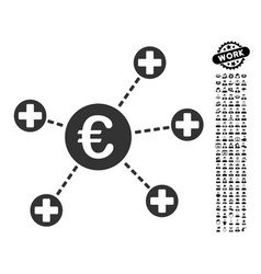 Euro medical links icon with work bonus vector