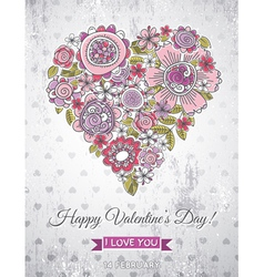 grey background with valentine heart vector image vector image