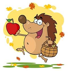Happy Hedgehog Runs vector image vector image