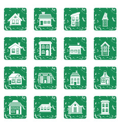 House icons set grunge vector