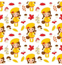 Little Autumn Girl Seamless pattern vector image vector image