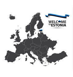 map of europe with the state of estonia vector image