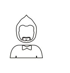 Monochrome contour with half body man with beard vector