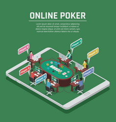 online poker isometric composition poster vector image