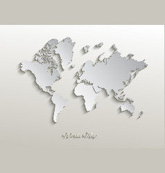 Paper world map on a white background vector