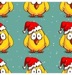 Santa Chicken Seamless Pattern vector image vector image